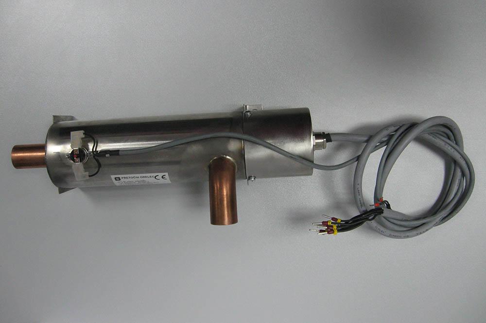 Pretočni grelec za toplotne črpalke